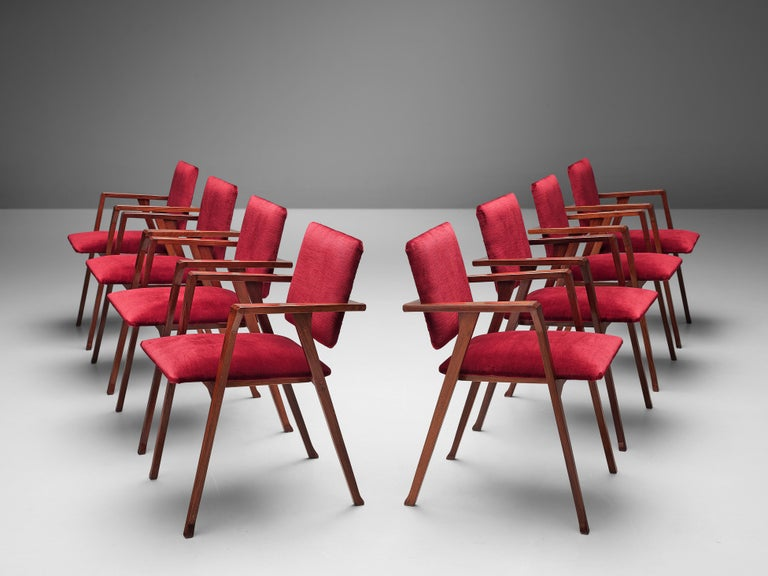 Franco Albini Set of Eight 'Luisa' Dining Chairs in Red Upholstery For Sale 1