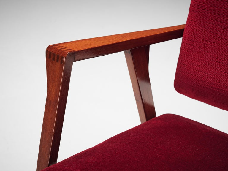 Franco Albini Set of Eight 'Luisa' Dining Chairs in Red Upholstery For Sale 2
