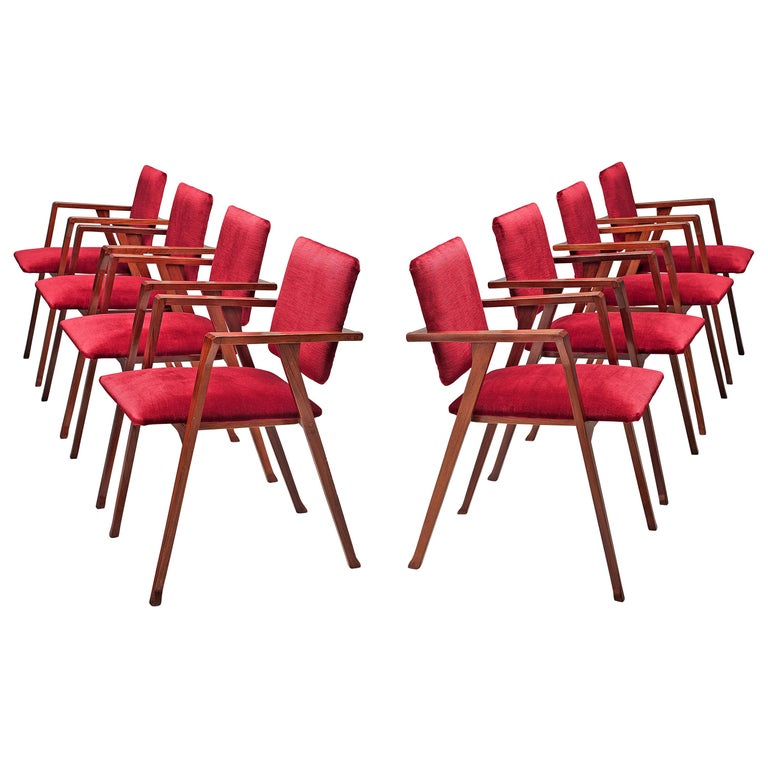 Franco Albini Set of Eight 'Luisa' Dining Chairs in Red Upholstery For Sale
