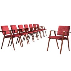 Franco Albini Set of Eight 'Luisa' Dining Chairs in Red Upholstery