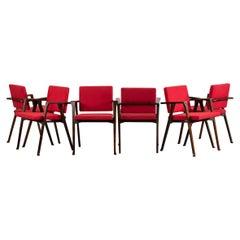 Franco Albini Set of Six Red Luisa Chairs Poggi Pavia, 1955
