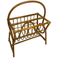 Franco Albini Style Bamboo and Rattan Magazine Rack Mid-Century Modern