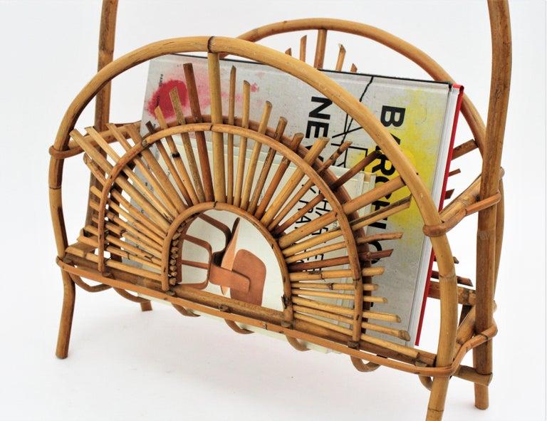 Franco Albini Style Bamboo and Rattan Sunburst Magazine Rack / Stand For Sale 4