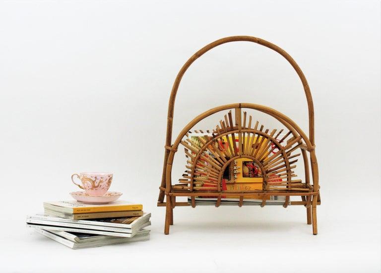 Franco Albini Style Bamboo and Rattan Sunburst Magazine Rack / Stand For Sale 5