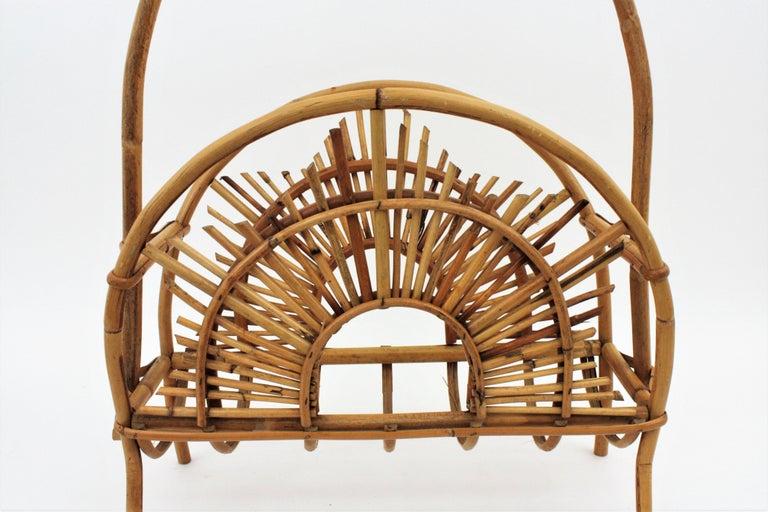 Franco Albini Style Bamboo and Rattan Sunburst Magazine Rack / Stand For Sale 6