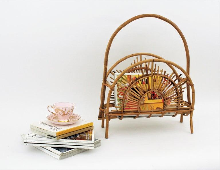 Franco Albini Style Bamboo and Rattan Sunburst Magazine Rack / Stand For Sale 7