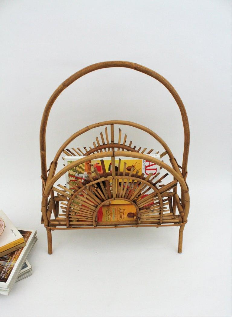 Franco Albini Style Bamboo and Rattan Sunburst Magazine Rack / Stand For Sale 8
