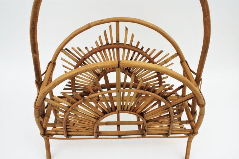 Franco Albini Style Bamboo and Rattan Sunburst Magazine Rack / Stand For Sale 9
