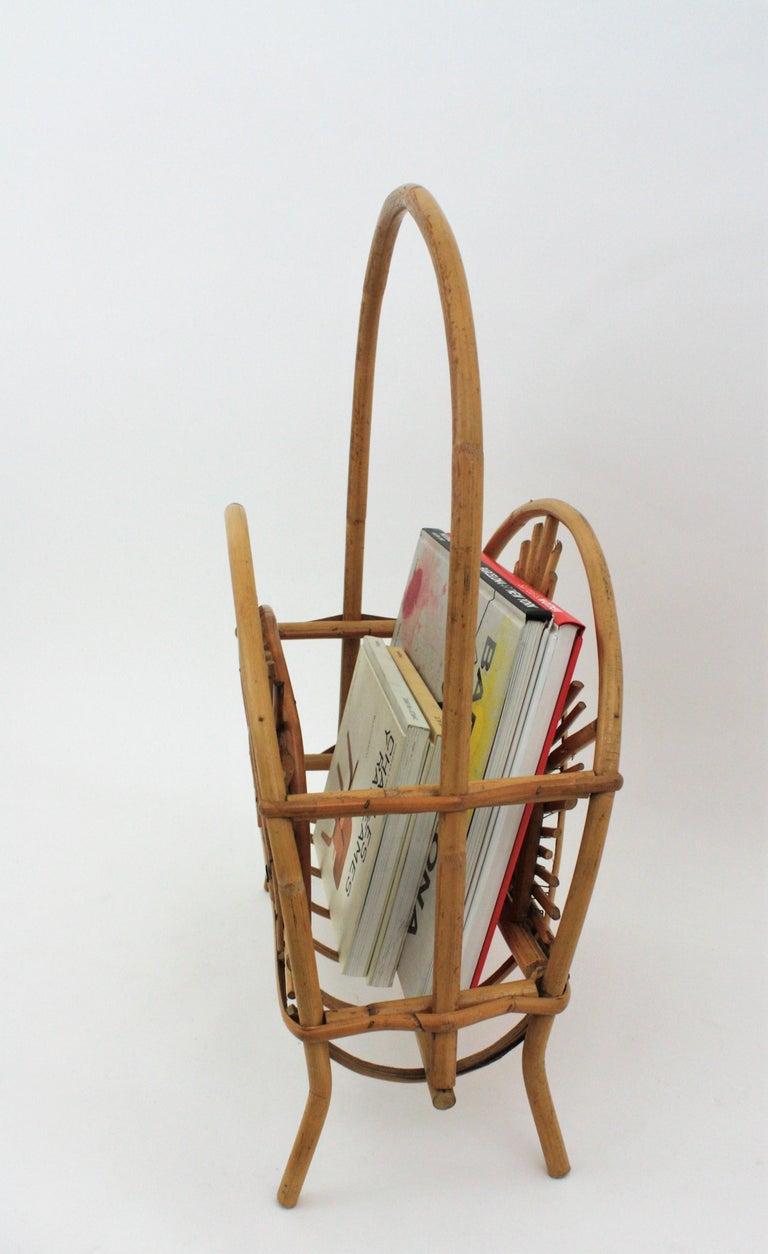 Franco Albini Style Bamboo and Rattan Sunburst Magazine Rack / Stand For Sale 10