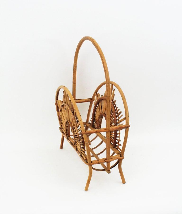 Franco Albini Style Bamboo and Rattan Sunburst Magazine Rack / Stand For Sale 11