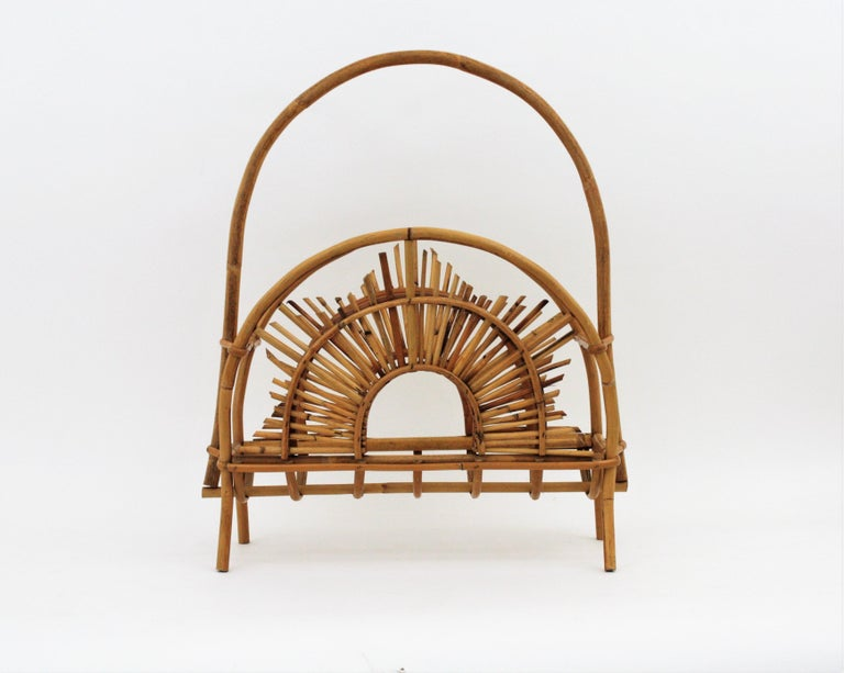 Franco Albini Style Bamboo and Rattan Sunburst Magazine Rack / Stand For Sale 12