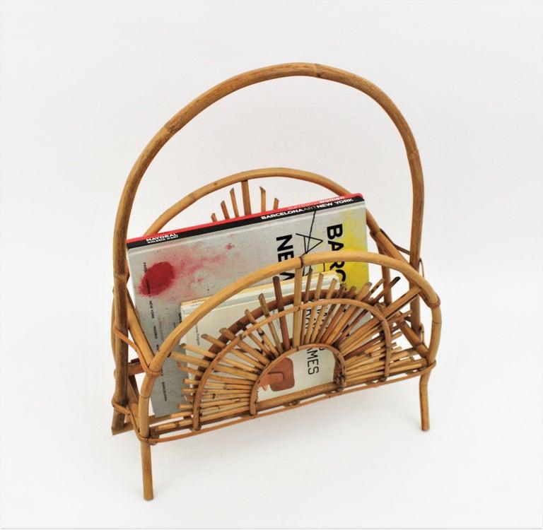 Mid-Century Modern Franco Albini Style Bamboo and Rattan Sunburst Magazine Rack / Stand For Sale