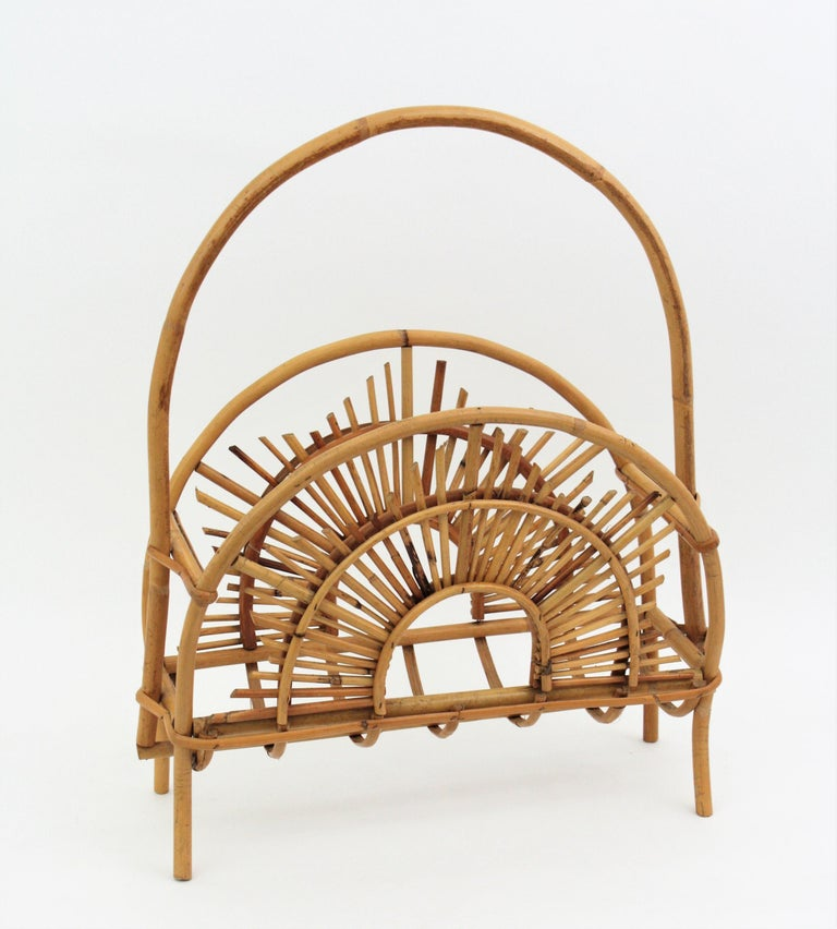 Italian Franco Albini Style Bamboo and Rattan Sunburst Magazine Rack / Stand For Sale