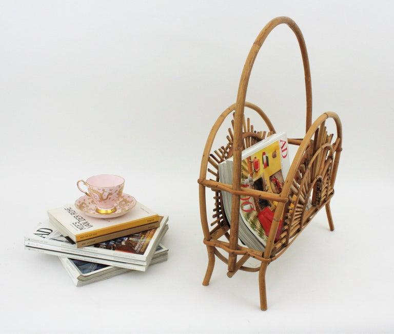20th Century Franco Albini Style Bamboo and Rattan Sunburst Magazine Rack / Stand For Sale