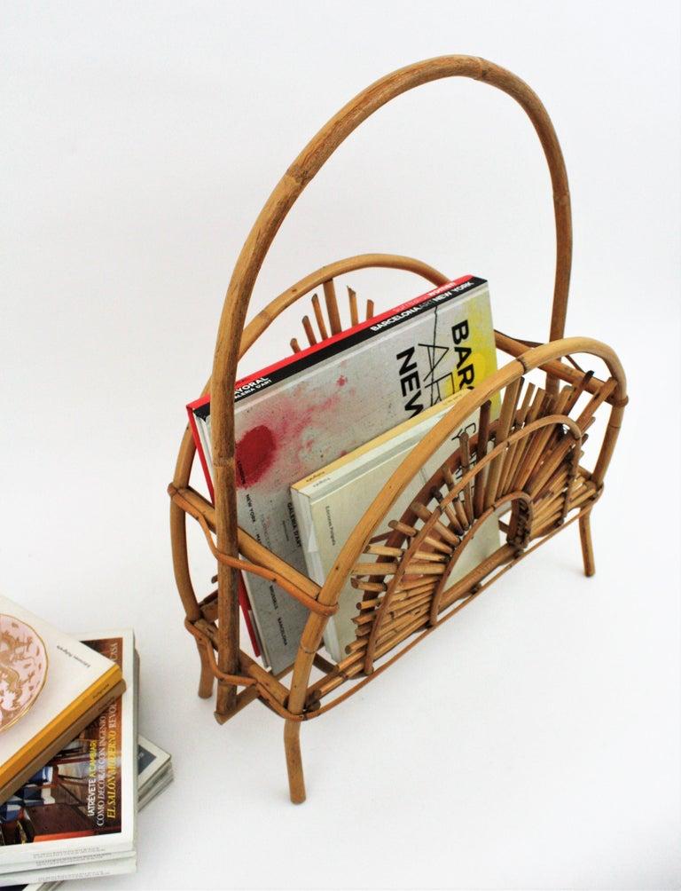 Franco Albini Style Bamboo and Rattan Sunburst Magazine Rack / Stand For Sale 1