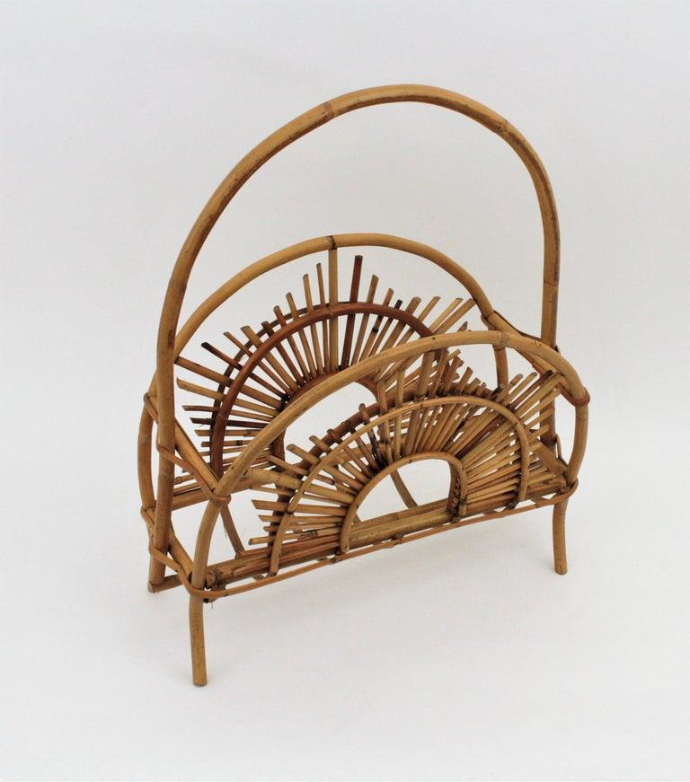 Franco Albini Style Bamboo and Rattan Sunburst Magazine Rack / Stand For Sale 2
