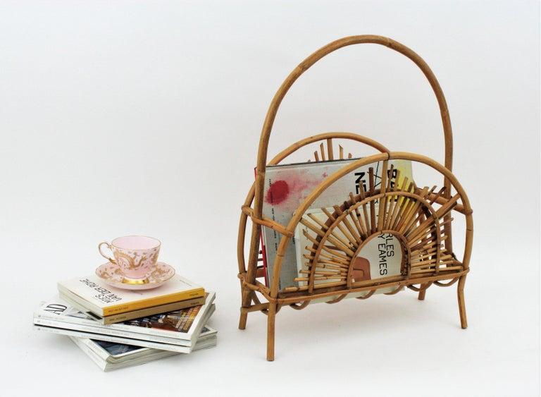 Franco Albini Style Bamboo and Rattan Sunburst Magazine Rack / Stand For Sale 3