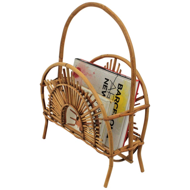 Franco Albini Style Bamboo and Rattan Sunburst Magazine Rack / Stand For Sale