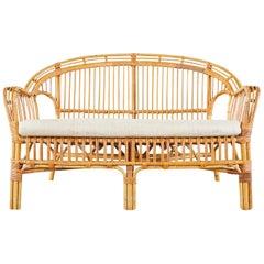 Franco Albini Style Bamboo Rattan Settee Loveseat