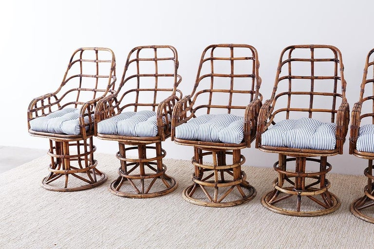 Franco Albini Style Bamboo Rattan Swivel Lounge Chairs For Sale 3