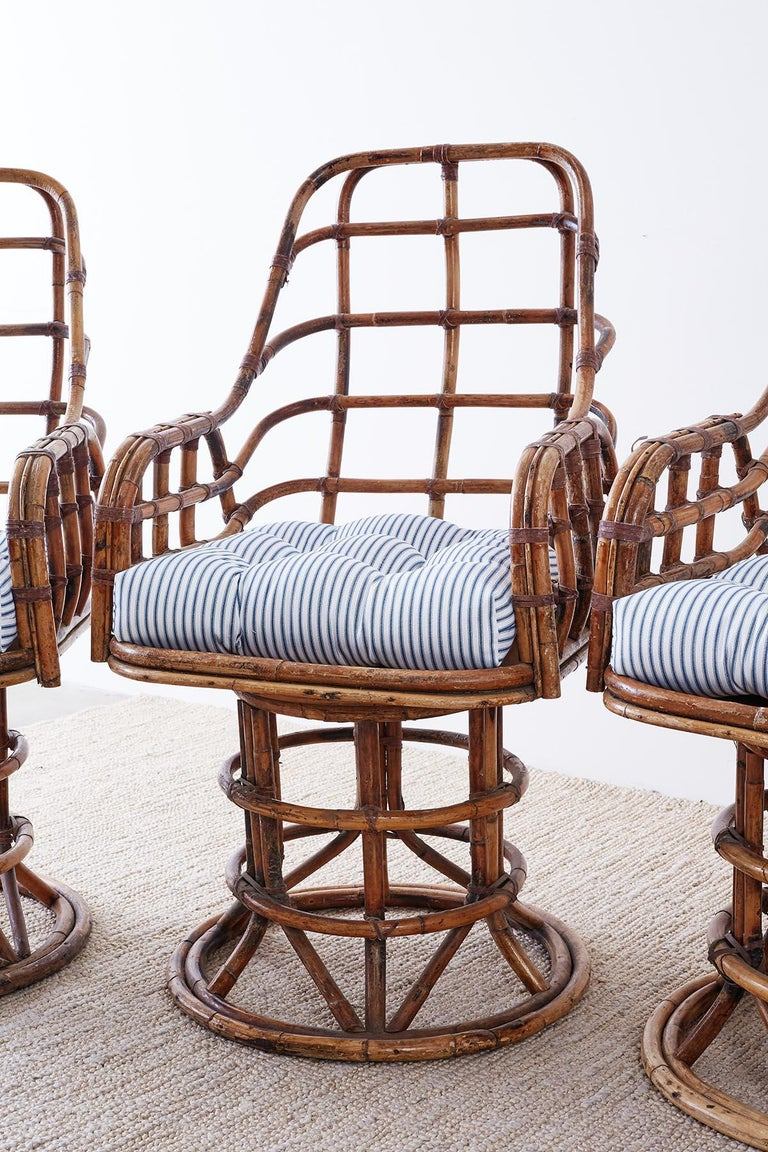 Franco Albini Style Bamboo Rattan Swivel Lounge Chairs For Sale 4