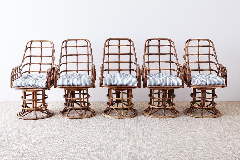 Hand-Crafted Franco Albini Style Bamboo Rattan Swivel Lounge Chairs For Sale