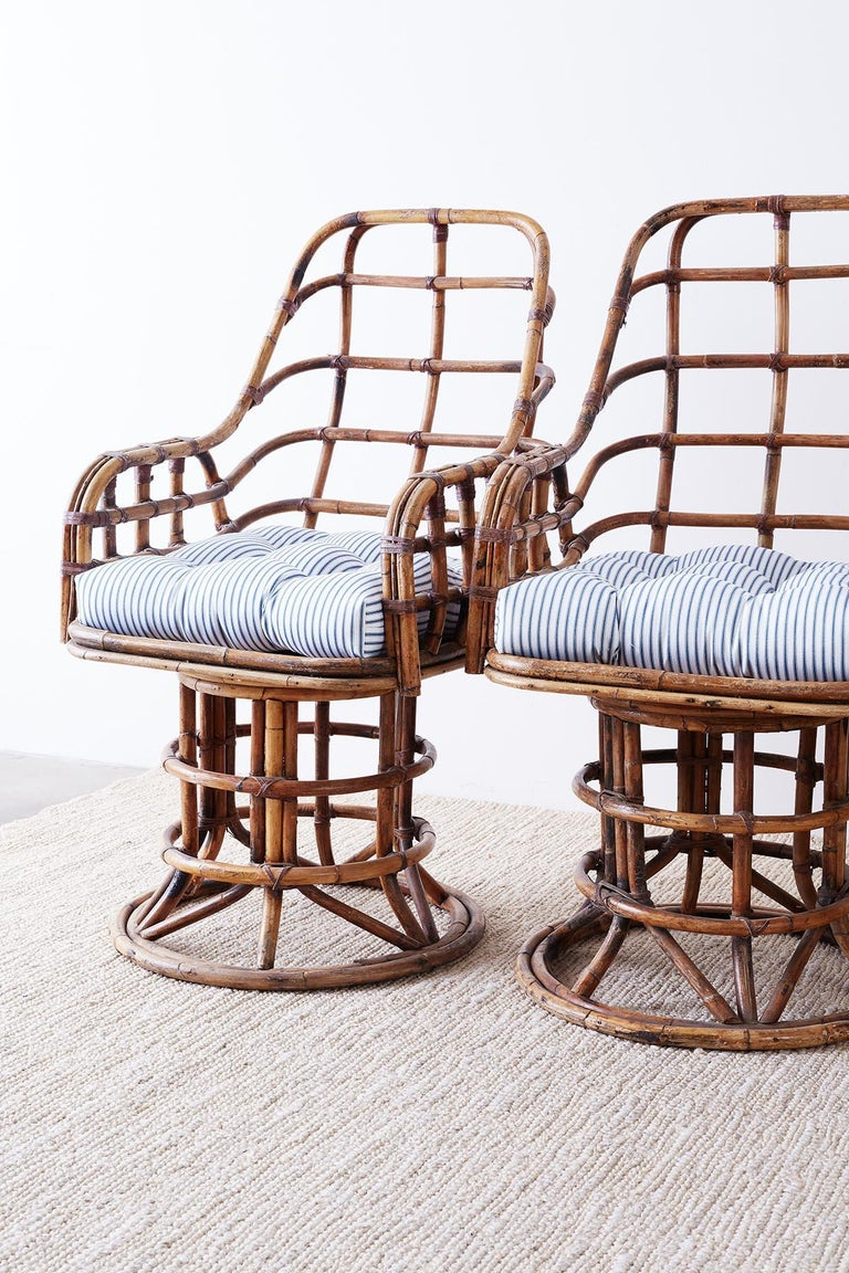 Franco Albini Style Bamboo Rattan Swivel Lounge Chairs In Distressed Condition For Sale In Oakland, CA