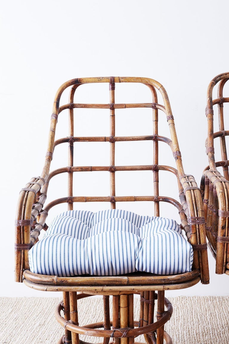 20th Century Franco Albini Style Bamboo Rattan Swivel Lounge Chairs For Sale