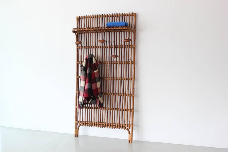Italian rattan and bamboo coat rack in the style of Franco Albini.