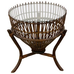 Franco Albini Style Fish Trap Rattan and Glass Side Table, Restored