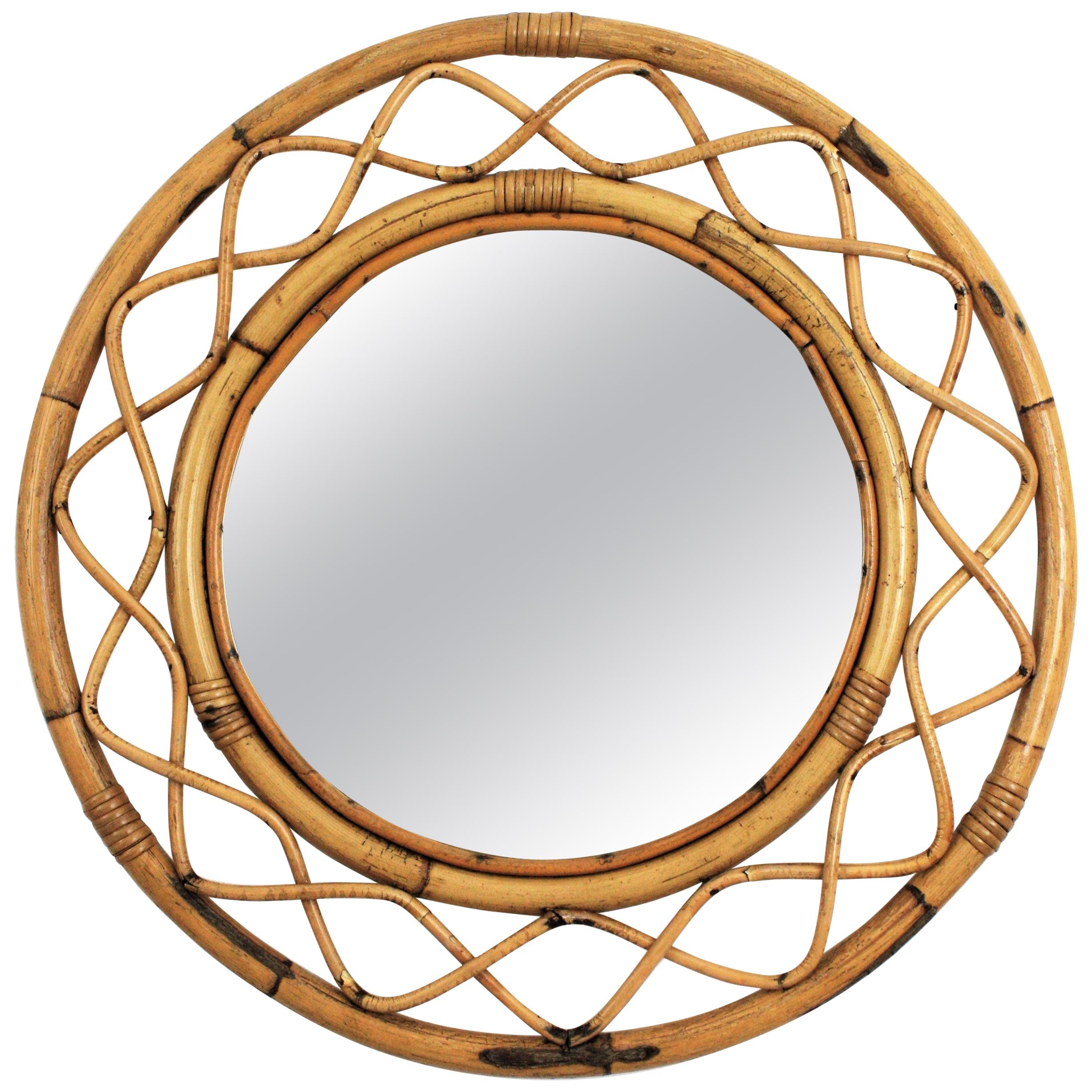 Franco Albini Style French Modern Bamboo and Rattan Round Wall Mirror, 1960s
