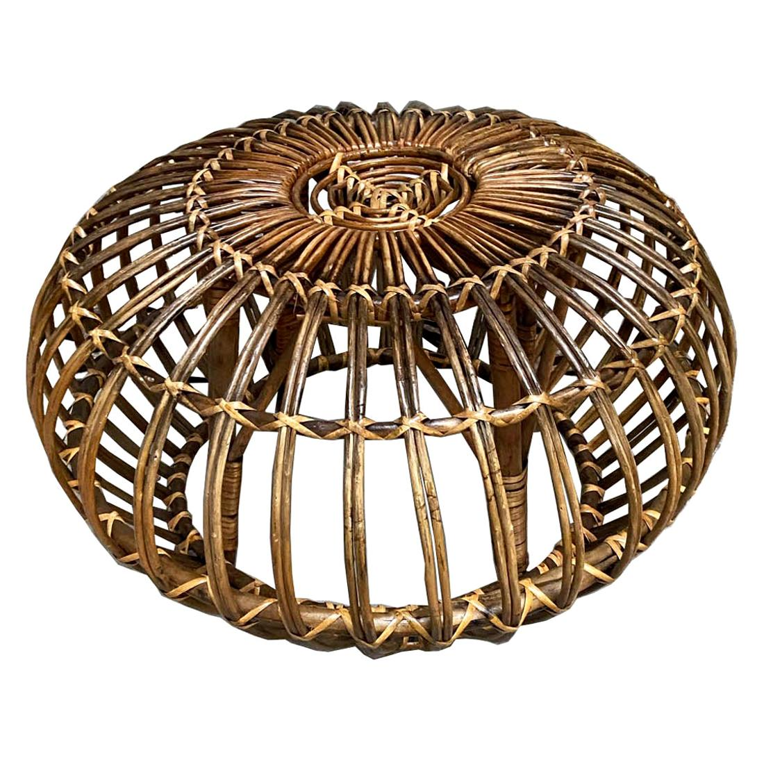 Franco Albini Attributed Handwoven Rattan / Wicker Ottoman, Italy, 1960s