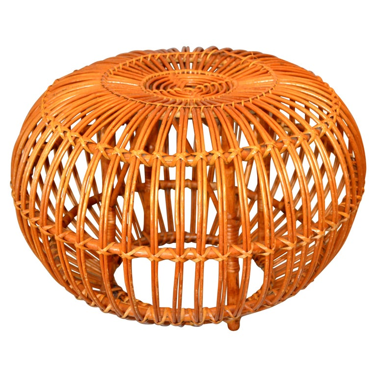Franco Albini Style Handwoven Rattan / Wicker Ottoman, Pouf, Footstool, Italy For Sale