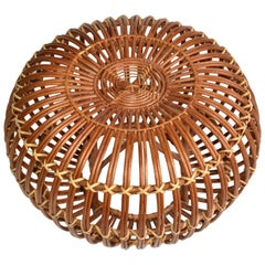 Franco Albini Style Handwoven Rattan / Wicker Ottoman, Pouf, Footstool, Italy