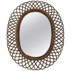 Franco Albini Style Midcentury Oval Mirror