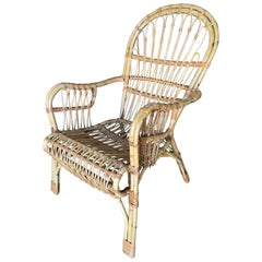 Franco Albini Style Midcentury Stick Rattan Lounge Chair