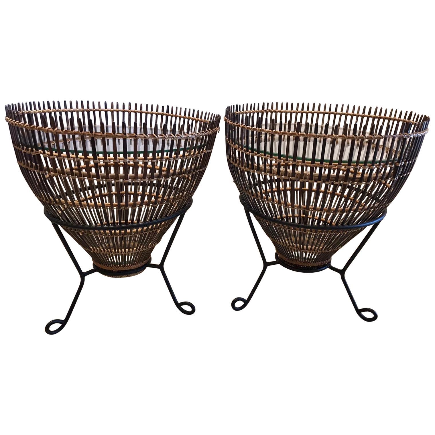 Franco Albini Style Rattan 1960s Fishing Basket Side Tables, Pair
