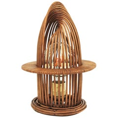 Franco Albini Style Rattan Modernist Table Lamp, Italy, 1960s