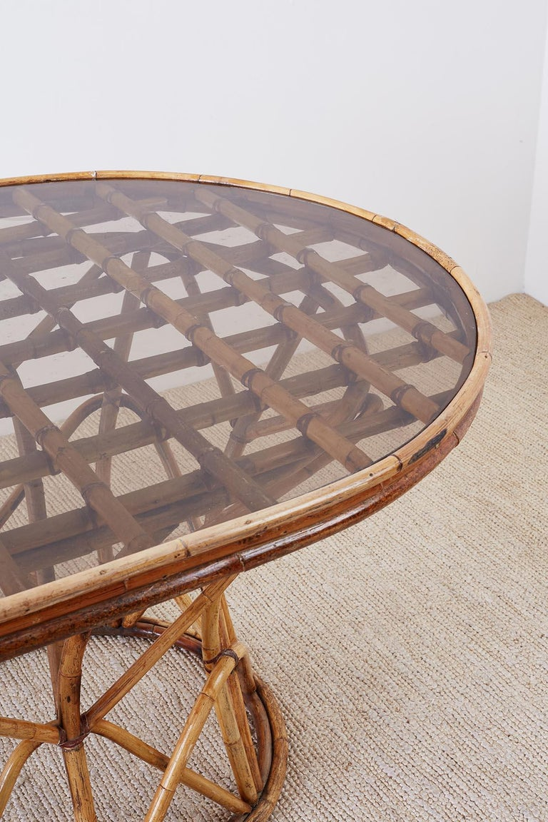 Franco Albini Style Sculptural Bamboo Rattan Dining Table For Sale 2