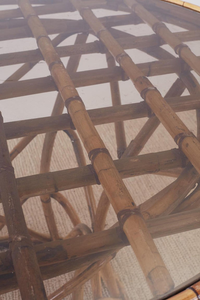 Franco Albini Style Sculptural Bamboo Rattan Dining Table For Sale 3