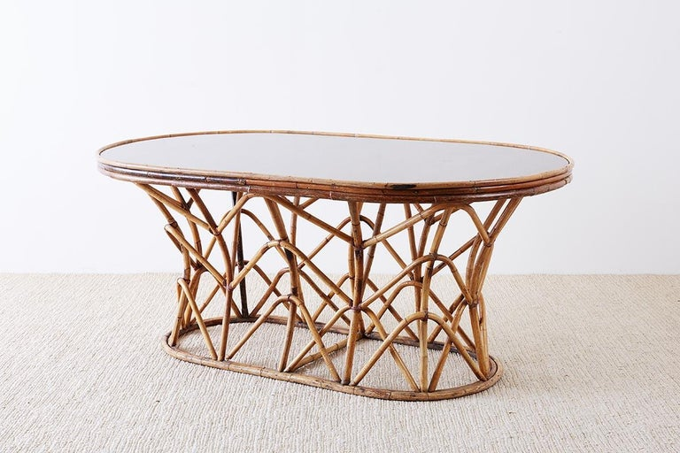 Franco Albini Style Sculptural Bamboo Rattan Dining Table For Sale 4