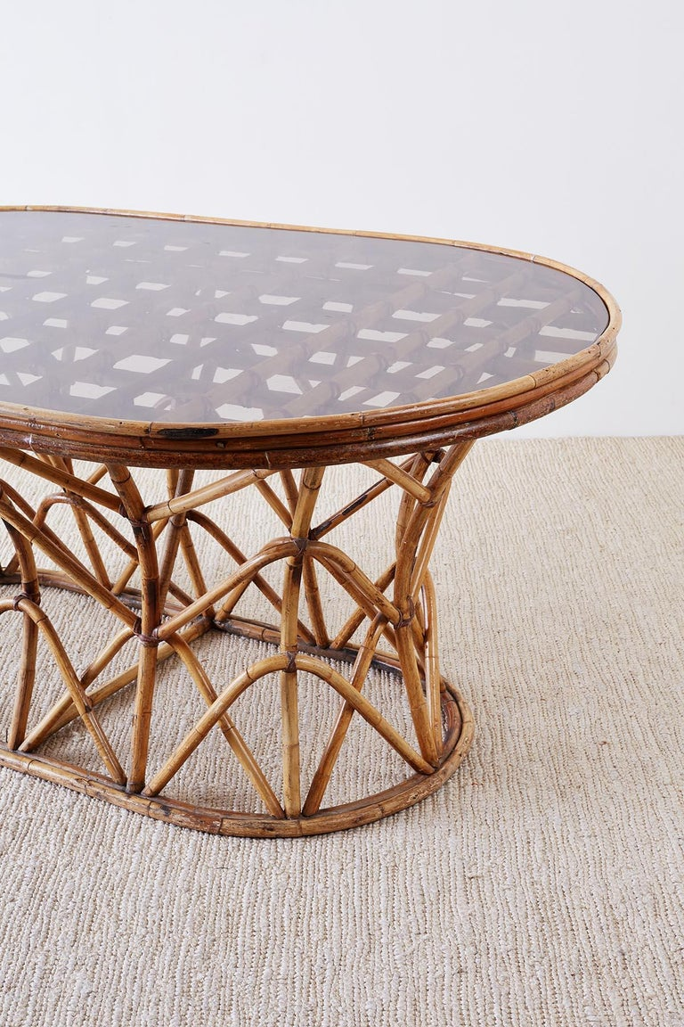 Franco Albini Style Sculptural Bamboo Rattan Dining Table For Sale 5