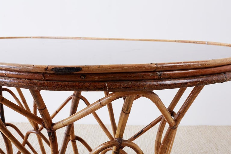 Franco Albini Style Sculptural Bamboo Rattan Dining Table For Sale 6
