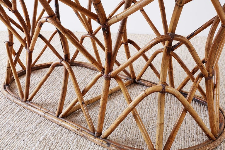 Franco Albini Style Sculptural Bamboo Rattan Dining Table For Sale 7