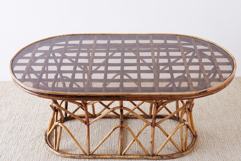 Franco Albini Style Sculptural Bamboo Rattan Dining Table For Sale 8