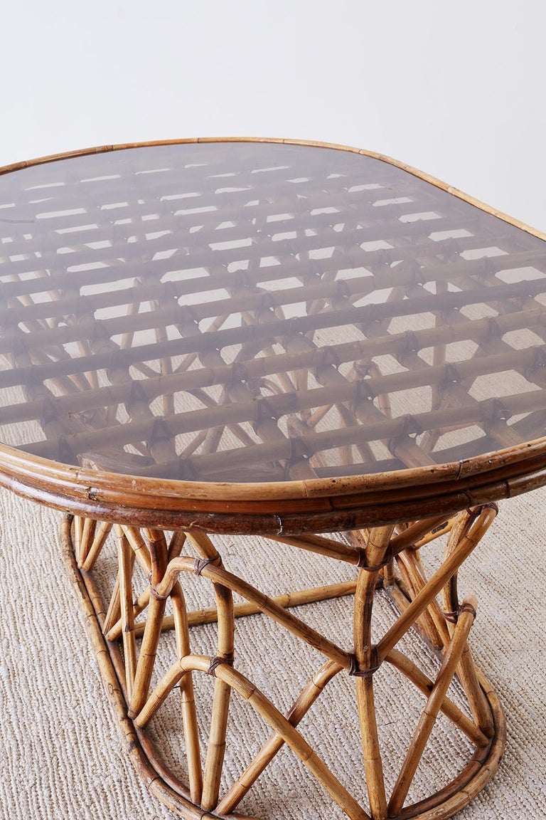 Franco Albini Style Sculptural Bamboo Rattan Dining Table For Sale 9