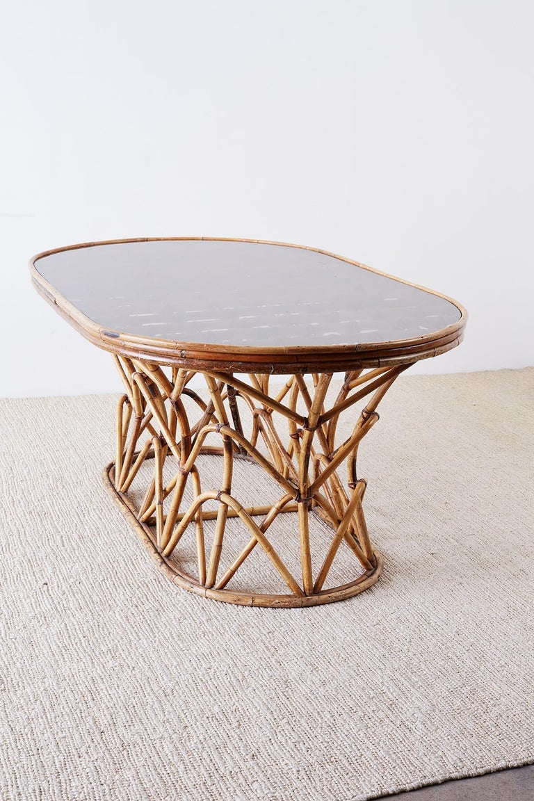 Franco Albini Style Sculptural Bamboo Rattan Dining Table For Sale 11
