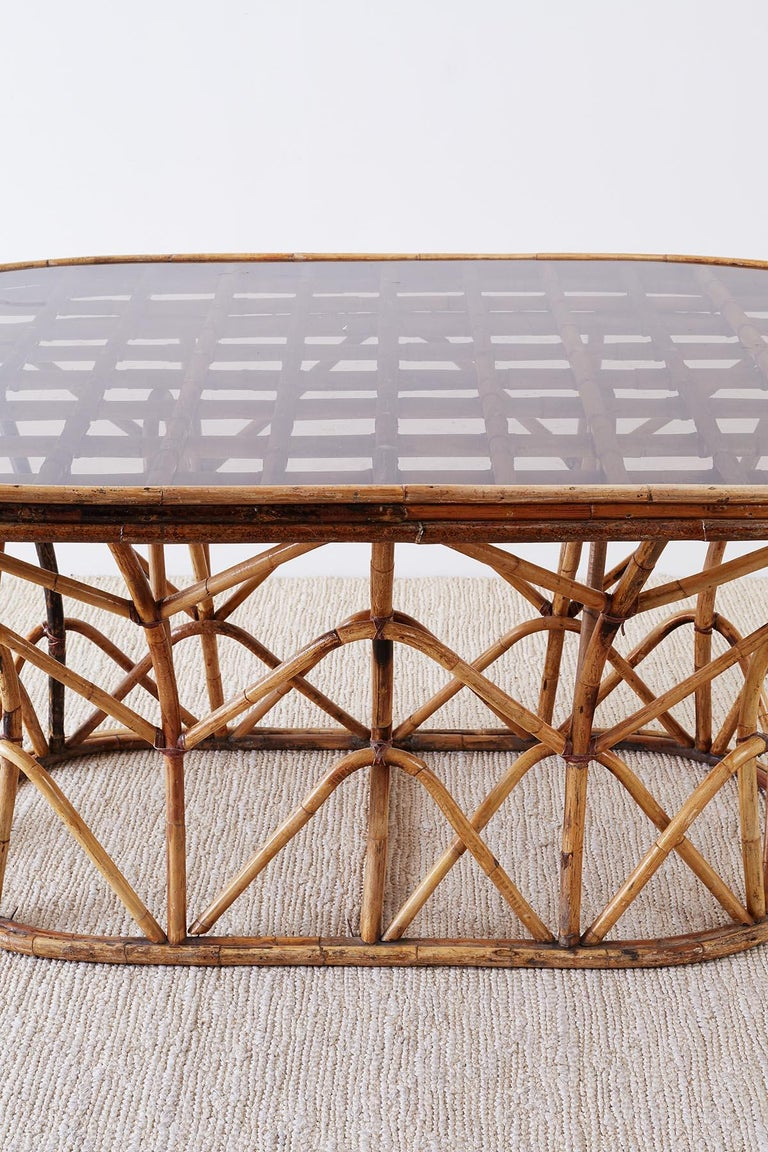 Hollywood Regency Franco Albini Style Sculptural Bamboo Rattan Dining Table For Sale