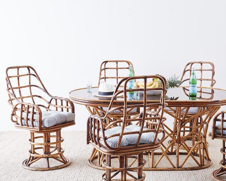 French Franco Albini Style Sculptural Bamboo Rattan Dining Table For Sale