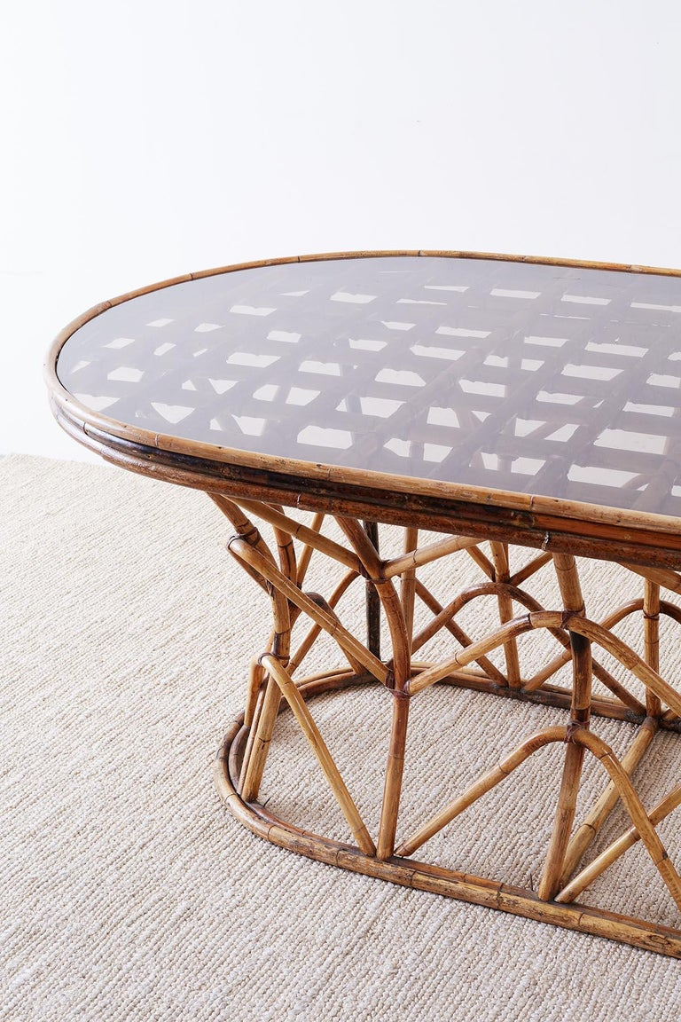 Hand-Crafted Franco Albini Style Sculptural Bamboo Rattan Dining Table For Sale